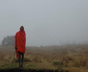 maasai herdsman in fog