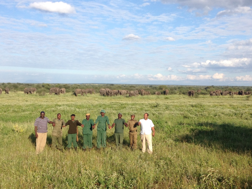 the African Wildlife Foundation anti-poaching unit w/ 60+ herd of elephant
