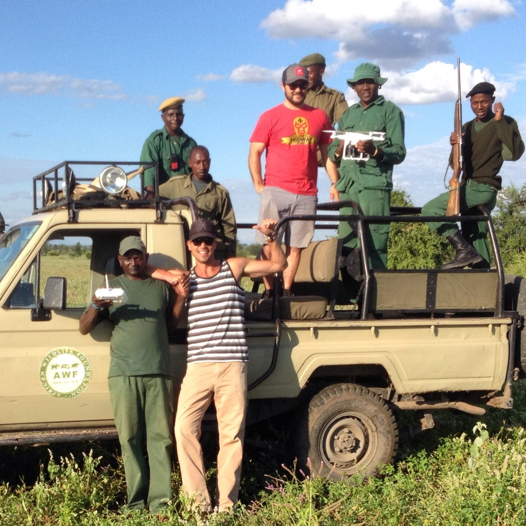 Steve, me & drone w/ the African Wildlife Foundation anti-poaching team