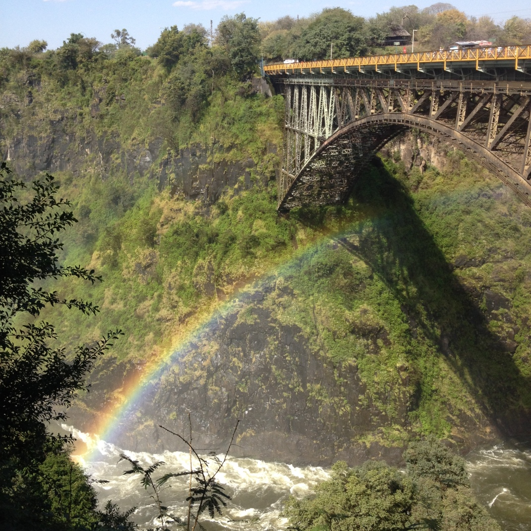 rainbow over Zambezi River at Victoria Falls